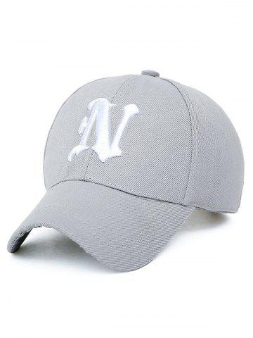 N Letter Embroidery Baseball Cap - LIGHT GRAY