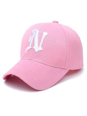 N Letter Embroidery Baseball Cap - Light Pink - One Size