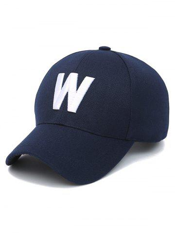 Chic Embroidery W Letter Baseball Cap PURPLISH BLUE