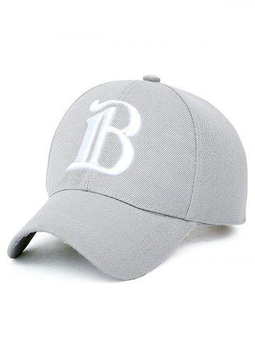 B Letter Embroidery Baseball Cap - Light Gray - One Size
