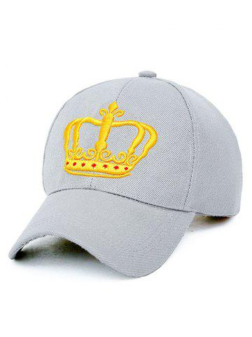 Hot Crown Embroidery Baseball Cap LIGHT GRAY