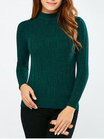 Latest Mock Neck Ribbed Pullover Sweater