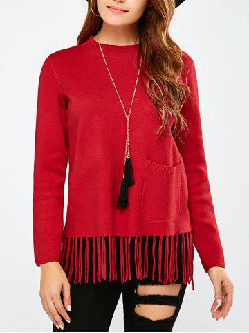 Outfits Crew Collar Fringe Pullover Sweater