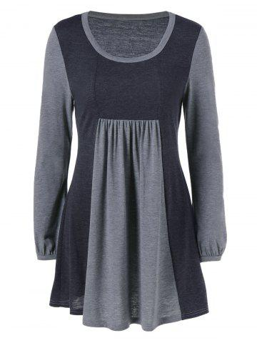 Sale Square Neck Two Tone T-Shirt BLACK AND GREY L