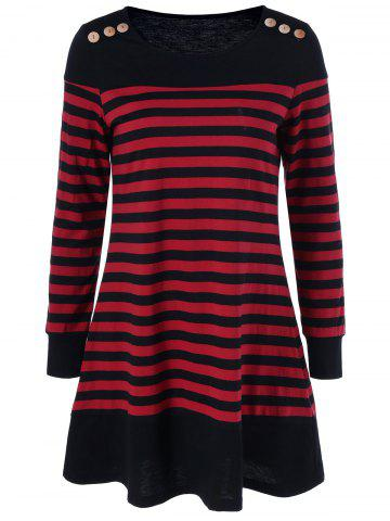 Long Sleeve Striped Mini Casual Dress - STRIPE XL