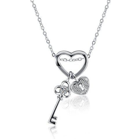 Best Heart Key Rhinestone Necklace SILVER