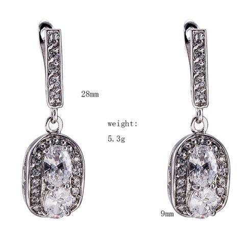 Store Polished Oval Rhinestone Necklace Set - SILVER  Mobile