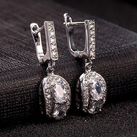 Outfit Polished Oval Rhinestone Necklace Set - SILVER  Mobile