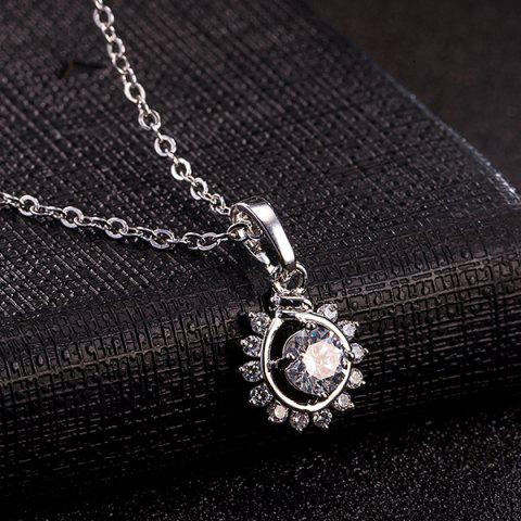 Store Sunflower Rhinestone Necklace Set - SILVER  Mobile