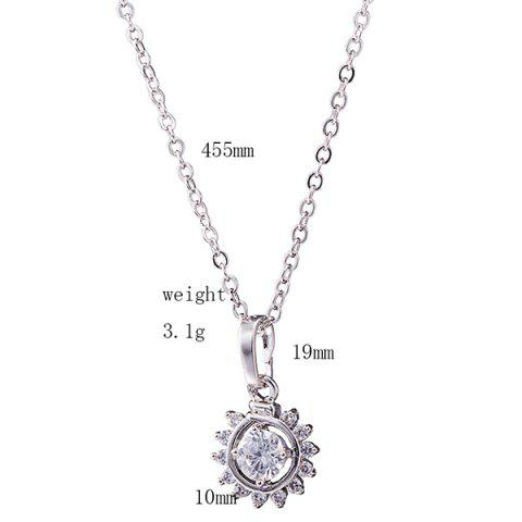 Outfit Sunflower Rhinestone Necklace Set - SILVER  Mobile