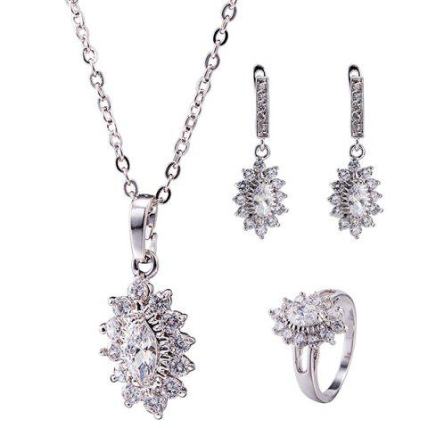 New Rhinestone Lotus Necklace Set SILVER
