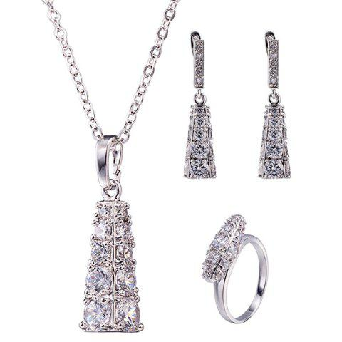 Best Rhinestone Geoemtric Necklace Set - SILVER  Mobile