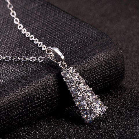 New Rhinestone Geoemtric Necklace Set - SILVER  Mobile