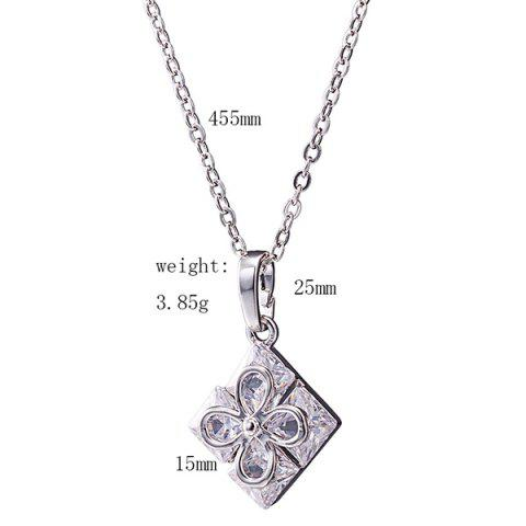 Fancy Rhinestone Square Clover Necklace Set - SILVER  Mobile