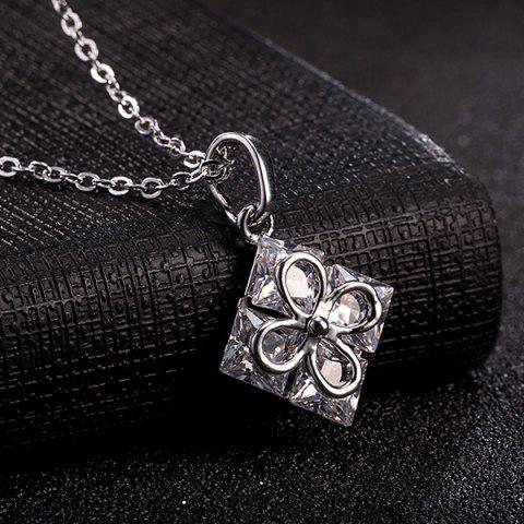 Buy Rhinestone Square Clover Necklace Set - SILVER  Mobile
