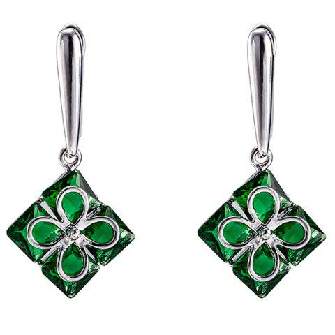 Discount Polished Clover Square Necklace Set - GREEN  Mobile