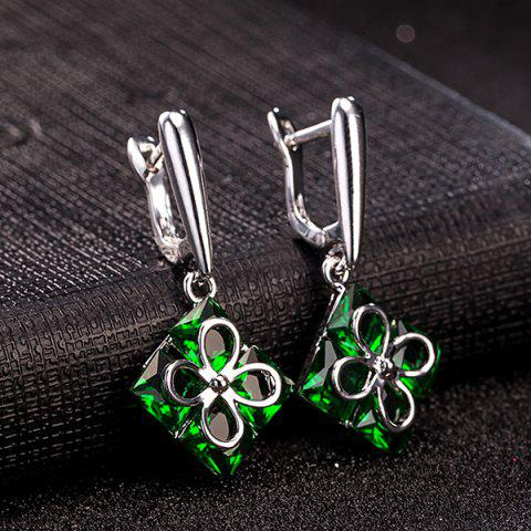 Outfits Polished Clover Square Necklace Set - GREEN  Mobile
