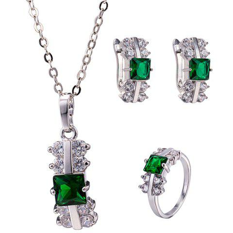 Latest Zircon Rectangle Pendant Necklace Set GREEN