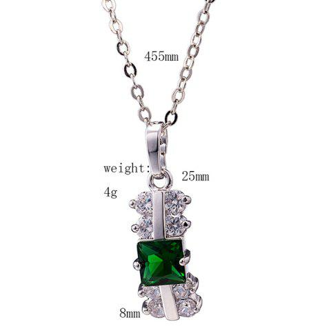 Outfits Zircon Rectangle Pendant Necklace Set - GREEN  Mobile