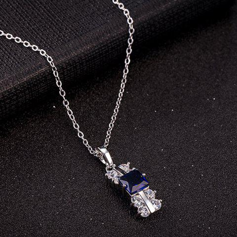 Sale Zircon Rectangle Necklace Set - DEEP BLUE  Mobile