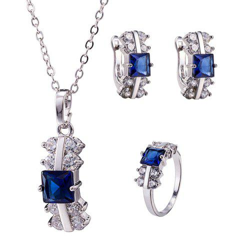 New Zircon Rectangle Necklace Set - DEEP BLUE  Mobile
