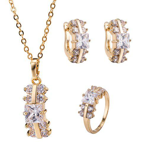 Buy Alloy Rectangle Zircon Necklace Set - CHAMPAGNE  Mobile