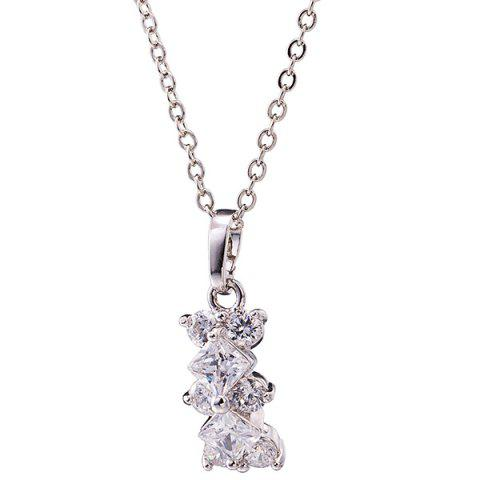 Store Rhinestone Rhombus Necklace Set - SILVER  Mobile