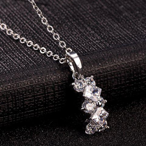 Online Rhinestone Rhombus Necklace Set - SILVER  Mobile