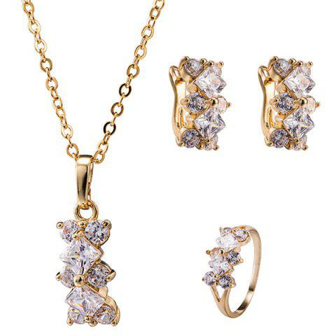 Online Ornate Rhinestone Rhombus Necklace Set SILVER WHITE