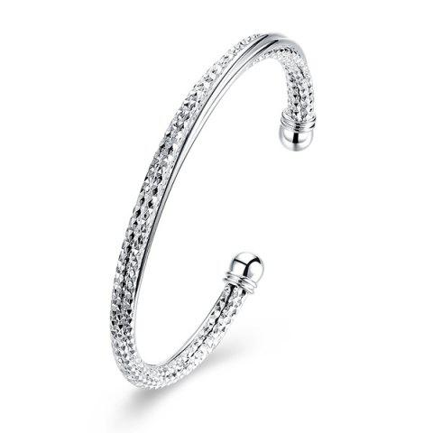 Discount Textured Chain Ball Cuff Bracelet SILVER