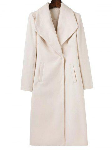 Buy Long Wool Maxi Coat with Lapel WHITE S