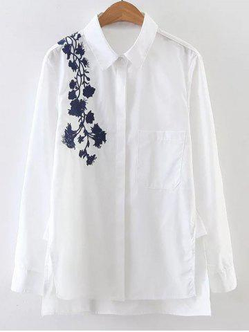 Affordable Embroidered Long Sleeve High Low Shirt