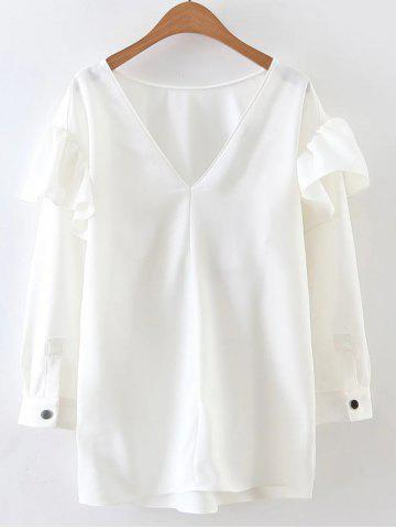 Discount Long Sleeve V Neck Flounced Blouse