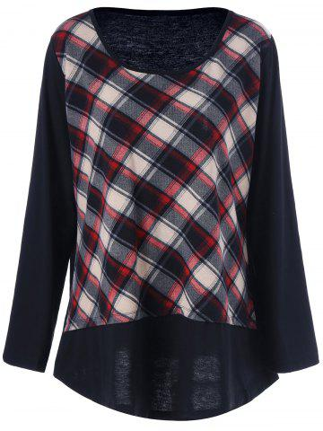 Plus Size Plaid Patchwork Tee - CHECKED 5XL