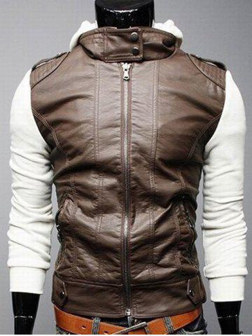 Fashion Zip Pocket Faux Leather Insert Hooded Jacket