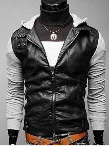 Zip Pocket Faux Leather Insert Hooded Jacket