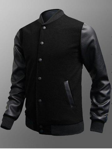 Cheap Side Pocket Snap Button Up PU Insert Jacket