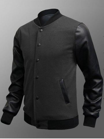Unique Side Pocket Snap Button Up PU Insert Jacket - M DEEP GRAY Mobile