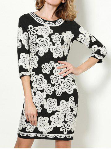 Fashion Fitted Flower Embroidered Dress