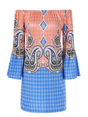 Shops Bell Sleeve Colorful Patterned Bohemian Dress COLORMIX 2XL