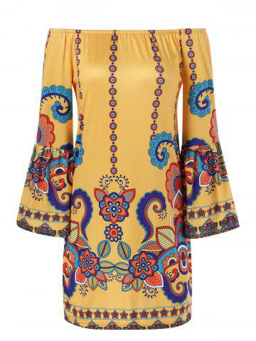 Unique Bell Sleeve Patterned Bohemian Dress