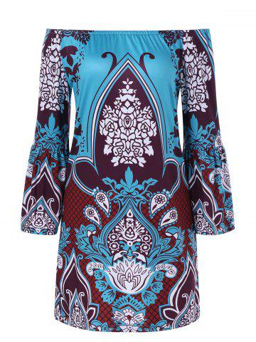 Outfits Bell Sleeve Ethnic Patterned Bohemian Dress LAKE BLUE 2XL