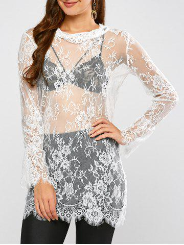 Discount Lace Long Sleeve Sheer Tunic Cover-Up WHITE XL