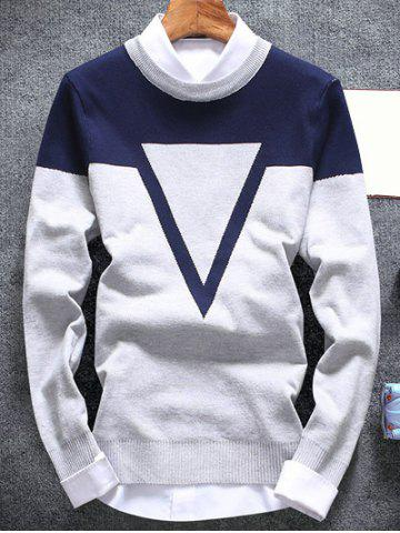 Fancy Inverted Triangle Crew Neck Flat Knitted Sweater
