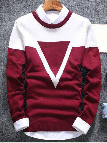 Inverted Triangle Crew Neck Flat Knitted Sweater - Burgundy - 2xl