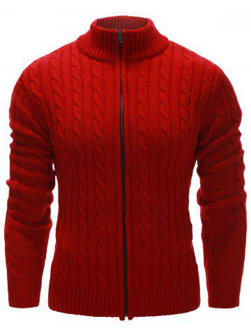 Latest Stand Collar Twist Zip Up Cardigan RED 2XL