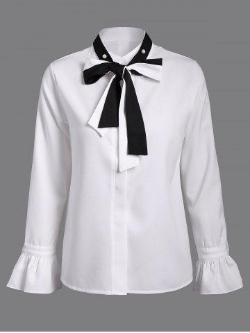 Chic Bell Sleeves Pussy Bow Chiffon Blouse