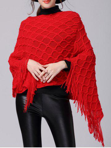 Store Fringe Asymmetric Sweater Poncho RED ONE SIZE