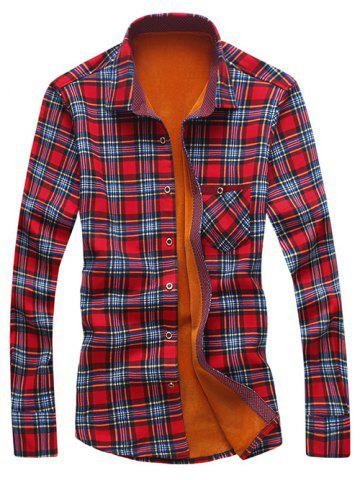 Store Turndown Collar Checked Print Flocking Shirt RED 3XL