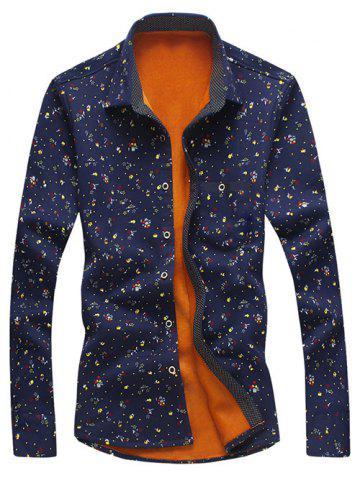 Discount Turndown Collar Tiny Floral Print Flocking Shirt